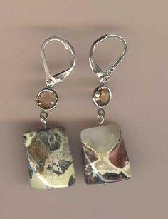 River Rocks I  New silver leaf jasper earrings by TheBeadGypsy, $15.00