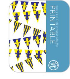 Blue and Gold free Mini-Pennant Printable    http://www.cuteanduseful.com/content/2012/3/6/blue-and-gold-centerpieces-free-mini-pennant-printable.html