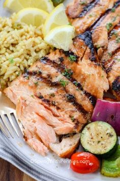 grilled salmon marinade is so tasty! It's made with brown sugar, oils, soy sauce and spices and perfectly coats the salmon. Grilling these salmon fillets up and pairing with a tossed salad and roasted vegetables makes for the perfect meal! Grilling Recipes, Fish Recipes, Seafood Recipes, Cooking Recipes, Healthy Recipes, Lunch Recipes, Healthy Meals, Delicious Recipes, Vegetarian