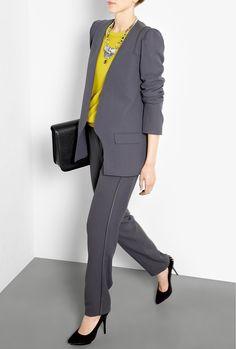 Grey Crepe Satin Jacket  and Pants -- VANESSA BRUNO -- via My-Wardrobe.com #suiting #tailoring
