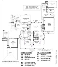 House Plans With In Law Suite Layout Offices 23 Trendy Ideas House Plans One Story, Best House Plans, Dream House Plans, Story House, House Floor Plans, The Plan, How To Plan, Home Design Plans, Plan Design