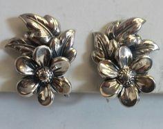 Vintage Danecraft Signed 925 Sterling Silver Flower Blossom Screwback Earrings