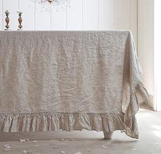 Linen tablecloth Thanksgiving Shabby Chic Decor Ideas