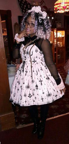 gothic lolita / purple curly hair / alternative fashion / black gothic lolita