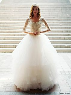 gorgeous lace and tulle wedding gown.This looks like a princess dress.I love it even though its a wedding dress.