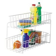 2-Drawer Kitchen/Bath Organizer is perfect for keeping cleaning supplies tidy, food packet and boxes organized, and toiletries in order.  Each basket slides out completely so you can take it where you need it.  It's excellent for storing cleaning supplies. $17.99