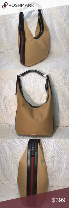 adde5767277c95 Gucci Handbag Gucci Catawiki Hobo Shoulder Bag Very gently worn Catawiki  brown leather and tan canvas