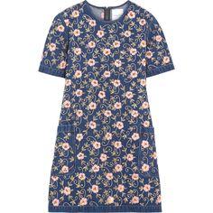 Ashish Embellished embroidered denim mini dress (20,735 MXN) ❤ liked on Polyvore featuring dresses, blue mini dress, embelished dress, embroidered denim dress, embroidered mini dress and blue dress