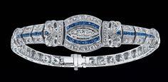Beverley K. designs 18k white gold diamond and sapphire bracelet. 4.91ct total weight round brilliant cut diamonds, 2.0ct total weight sapphires. $29,995.