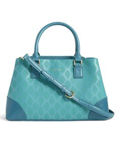 Take a look at this Teal Ikat Diamonds Emma Leather Satchel today!