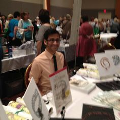 Sara Oehler repinned this photo from the Bead & Button Show's Meet the Teachers Night. That's Nealay Patel at his table.
