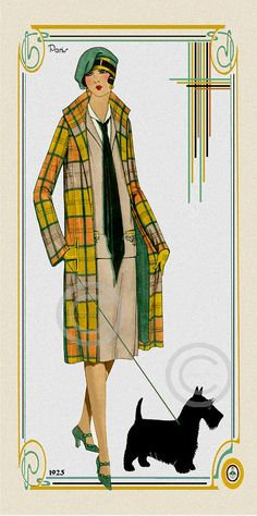 This is a art deco Paris Fashion Print. From 1925 and showing a flapper girl dressed in a delightful scottish style plaid coat in greens and