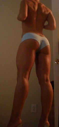 great back,  glutes, quades, and hamstrings! shes been working hard! great motivation
