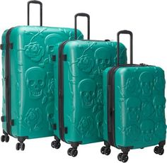 IT Luggage Skull Emboss 3 Pc Spinner Luggage Set Ultramarine Green - via eBags.com!