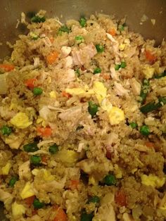 "Quinoa Chicken ""Fried Rice"". #cleaneating #healthy #recipe"