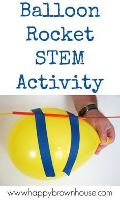 Watch this balloon rocket zoom across the room in this balloon science experiment. This is a great stem activity for kids that will leave them asking to do it again. # science activities for kids Balloon Rocket STEM Activity Kid Science, Balloon Science Experiments, Science Week, Summer Science, Stem Science, Science Experiments Kids, Science Centers, Science Room, Science Daily