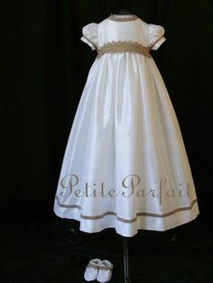 """the """"avery gown"""" christening or baptism gown in off-white silk"""