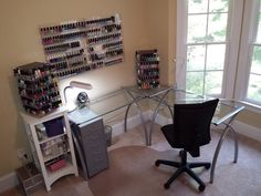 My current nail polish station at home.  More than 500 polishes (mostly indies) in my collection.  Destashing weekly, but it's not much help.  :)
