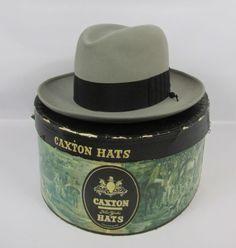 CAXTON NEW YORK GRAY FEDORA MENS HAT 7 1/8 BEAVER TWENTY