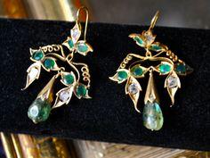 EMERALDS & DIAMONDS, Oh My: Emerald/Diamond Victorian Style Dangle Chandelier Earrings $865