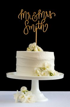 Customize your cake topper with your new last name #caketopper #wedding