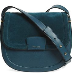 Classic saddle-bag curves enhance the everyday refinement of a smooth leather shoulder bag topped with a tonal suede flap. Fashion Bags, Fashion Backpack, Fashion Accessories, Travel Backpack, Leather Shoulder Bag, Shoulder Bags, Shoulder Handbags, Bleu Marine, Dior