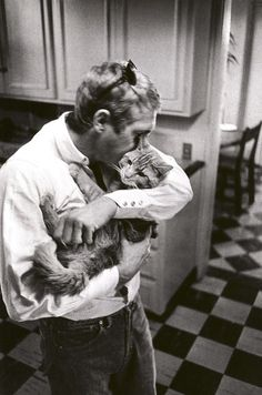 Steve McQueen... the perfect man, handsome and loves cats.
