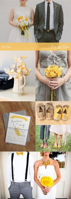 Grey and Yellow Wedding Inspiration. I would go for Orange, maybe Vermilion instead of yellow I like the bottom pictures