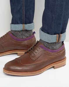 **Men** ASOS Brogue Shoes In Brown Leather With Natural Sole