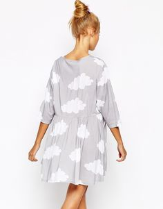 Cloud Print Dress | Lazy Oaf