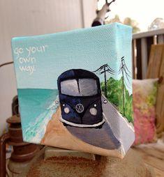 """Tiny Classic VW Bus Road Trip Painting with quote. Acrylic on Canvas. 4x4""""  """"Go on your own way"""" Fleetwood Mac Quote"""