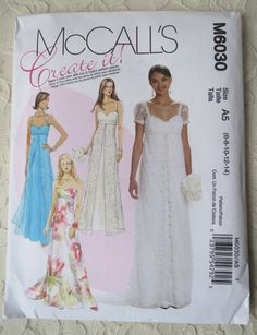 McCalls M6030 Sewing Pattern Wedding Bridal Gown Bridesmaids Special Occasion Dress with Variations Womens Size A5 6-8-10-12-14