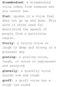 Words to describe someone's voice 2