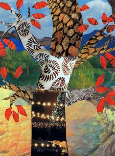 landscape with foreground tree - exploring shape, texture and mixed-media collage