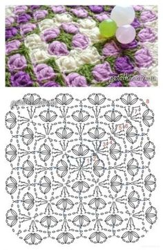 Crochet motif with chart. Crochet Squares, Crochet Motifs, Granny Square Crochet Pattern, Crochet Blocks, Crochet Diagram, Crochet Stitches Patterns, Crochet Chart, Crochet Granny, Crochet Doilies