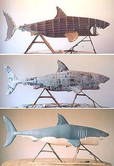 Cardboard Shark! - #cardboard #Shark Cardboard Sculpture, Paper Mache Sculpture, Cardboard Crafts, Cardboard Paper, Paper Mache Projects, Paper Mache Crafts, How To Paper Mache, Origami, Paper Mache Animals