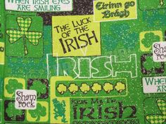 "St Patricks Day Irish Luck Shamrock Clover Glitter Fabric Remnant 36""x44"" JoAnn #JoAnnFabrics"