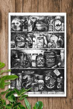 Print Collection in basement, Illustration, Drawing, Horror, creepy My Works, Illustration, Creepy, Art Drawings, Horror, Etsy, Baseball Cards, Wallpaper, Vintage