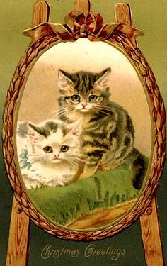 Cute vintage postcard with two cats