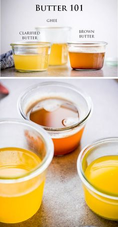 A simple and explanatory post on how to make clarified butter, ghee, and brown butter - and the difference between all three! Ghee vs clarified butter, etc. Geklärte Butter, Flavored Butter, Homemade Butter, Butter Recipe, Brown Butter, Cooking 101, Cooking Recipes, Cooking Time, Cooking Steak
