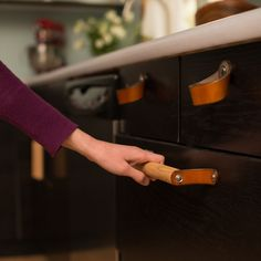 """Leather Cabinet Handle - The Sellwood 12"""" from WALNUT STUDIOS $42.00."""