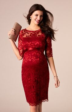 A deeply dramatic shade of scarlet gives our best selling Amelia lace maternity dress, head turning glamour. Ideal for a 'wow factor' entrance at your next special occasion.