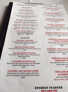 Menu options, Bold Knight Restaurant, Nanaimo, BC
