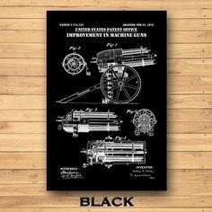 Bailey Machine Gun Patent Print Bailey Machine Gun Poster | Etsy Technical Artist, Gun Art, Patent Drawing, Crisp Image, Digital Form, Patent Prints, Military Art, Unique Image, Colorful Backgrounds