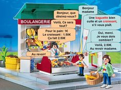 Boulangerie: This provides an example of a conversation one might have at a bakery in France. French Teacher, Teaching French, Fruits Secs Bio, French Practice, French Conversation, Core French, French Classroom, French Resources, Maila