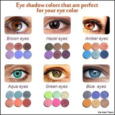 Choosing a shadow that maximizes your eye color! Your complementary color will instantly accentuate your iris hue. Chose the best eye shadow for your eye color - for green, blue, hazel, and brown eyes. Eye make up Hazel Eye Makeup, Eye Makeup Steps, Hooded Eye Makeup, Skin Makeup, Makeup Dupes, Eyeshadow For Blue Eyes, Best Eyeshadow, Makeup For Green Eyes, Hazel Eyes Hair Color