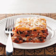 """Cheesy Black Bean Lasagna Recipe -This is one of my family's absolute favorite meatless meals. I came up with this variation on lasagna to help my husband lower his cholesterol level, and I never dreamed that family and friends would rave over it."""" Dusty Davis - Slidell, Louisiana"""