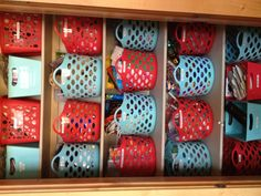 Stop pinning and start making: Again, the Dollar Tree store helps me make a messy closet functional. I can actually find the tissue paper and glue gun when you categorize the baskets and appreciate a label maker! Thanks Pinterest for the inspiration!