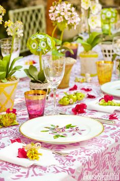 Pink and green table setting designed by Mimi McMakin, is dressed with china, crystal, flatware, and linens from Mary Mahoney.   - HouseBeautiful.com