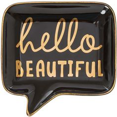 Hello Beautiful Jewelry Dish ($7.99) ❤ liked on Polyvore featuring home, home decor, jewelry storage, black vanity tray and black home decor